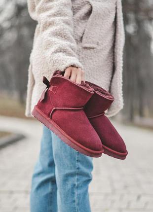 Ugg bailey bow red! женские замшевые зимние угги/ сапоги/ боти...
