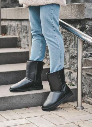 Ugg mini black! женские кожаные зимние угги/ сапоги/ ботинки/ ...