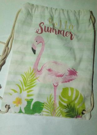 Рюкзак, сумка для сменки. розовый фламинго.
