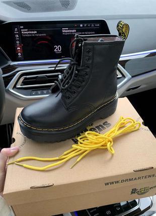 Шикарные женские зимние ботинки с мехом мартинс чёрные зима
