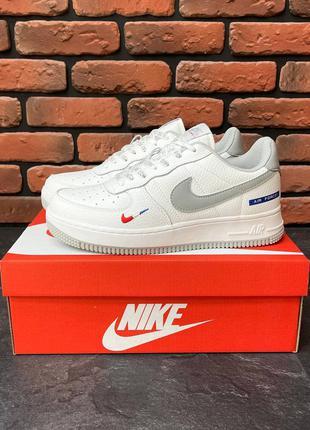 Nike Air Force 1  White/Gray Кроссовки Летние Мужские кроссовки