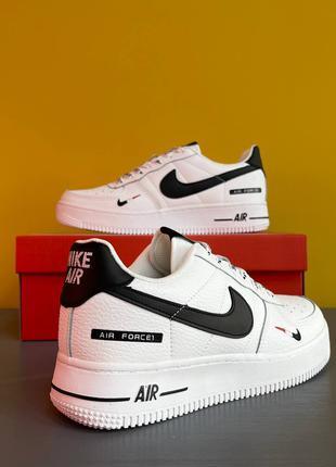 Nike Air Force 1 White/Black Кроссовки Летние Мужские Кроссовки