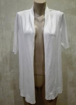 Летний белый кардиган с коротким рукавом