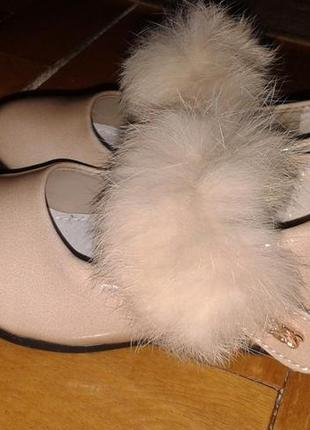 Нарядные лаковые перламутровые туфельки keilaifeng,.мех кролик...