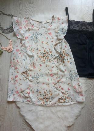 Белая блуза в цветочный принт с воланами рюшами шифон батал бо...
