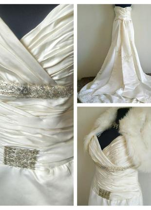 Новое свадебное платье айвори со шлейфом.