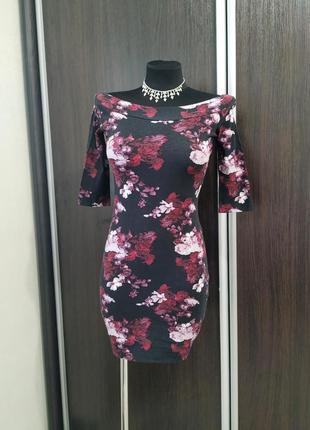 Хлопковое платье со спущенными плечами в цветочный принт