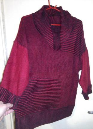 Тёплый,60%-коттон,меланжевый,вишнёвый свитер-джемпер-туника,бо...