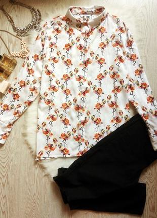 Белая блуза рубашка с цветным принтом батал большой размер дли...