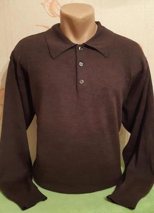 Тёплый свитер поло с длинным рукавом с добавлением шерсти