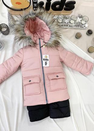 Детский зимний комбинезон для девочки 2-4 года
