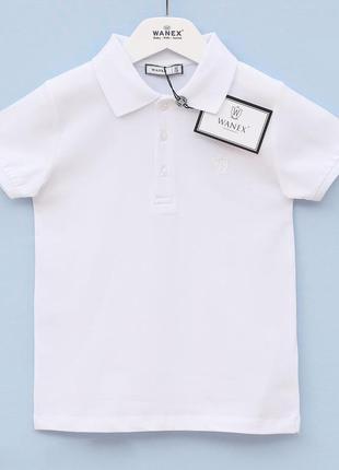 Белое поло для мальчика wanex. размеры 116-158 рост