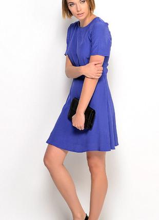 Брендовое синее вечернее миди платье с вырезом на спине mango ...