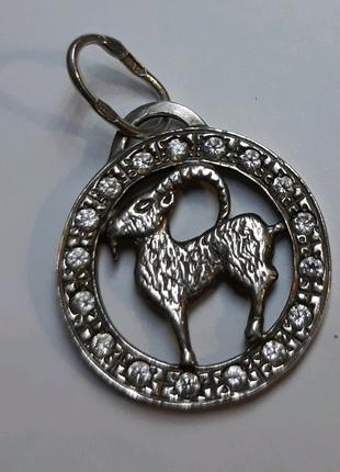 Подвеска Знак Зодиака с фианитами, серебро 925 проба
