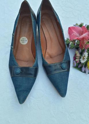Джинсовые туфельки на маленьком каблучке