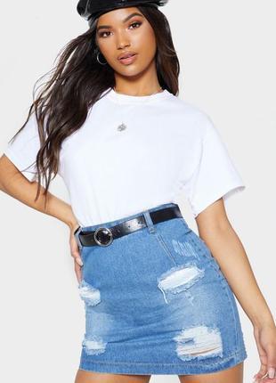Стильная джинсовая юбка, высокая талия