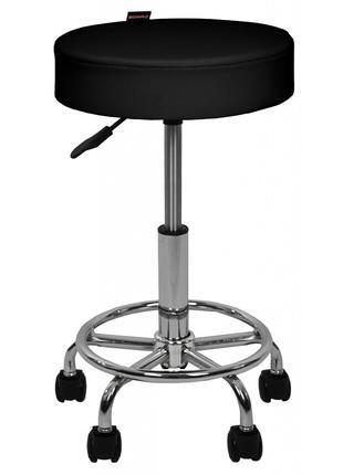 Крісло табурет на колесах без спинки кругле Bonro B-830 чорне