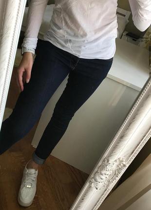 Шикарные джинсы/ классические джинсы/ темные джинсы с коричнев...