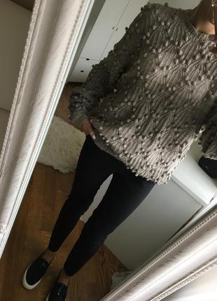 Эксклюзивный / дизайнерский свитер ручной вязки оверсайз