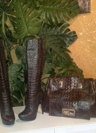 Шикарная кожаная сумка, крокодил