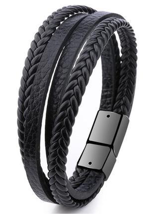 Мужской кожаный браслет Primo Rope с магнитной застежкой - Black