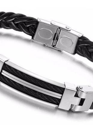 Мужской кожаный браслет Primo Steel Rope - Black