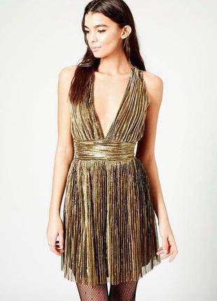Платье вечернее золотистое плиссе topshop 10 размер