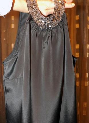 Шикарная черная шифоновая блузка, блузка, вышитая бисером брен...