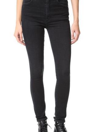 Стильные скинни джинсы с высокой талией и необработаным  низом...
