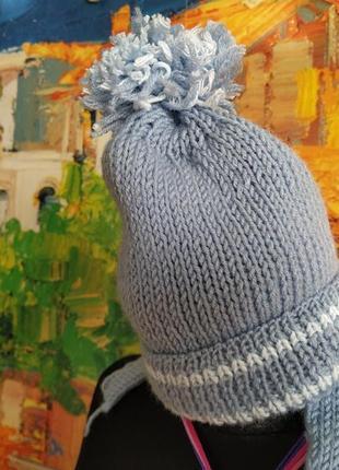 Шапочка шапка вязанная ручная работа мальчик 3-12 мес