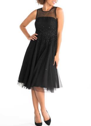 Эффектное черное вечернее платье  из фатина — актуальный модны...