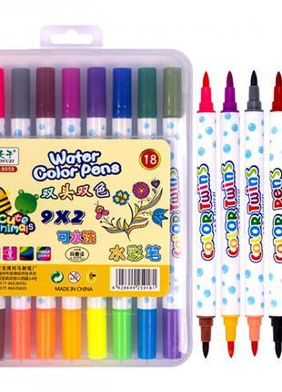 Набор двухцветных фломастеров 9 штук 18 цветов 8059-18 в пласт...