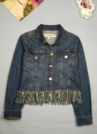Джинсовый пиджак с бахромой ashley  mason