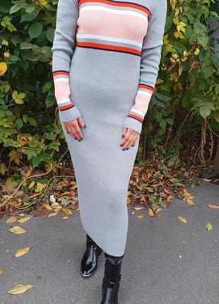 Платье миди в рубчик by very