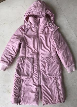 Тёплая длинная куртка-анорак , пальто