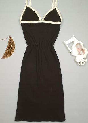 Платье миди  силуэтное в рубчик zara