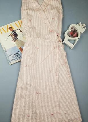 Платье миди в полоску на запах в принт фламинго nikki valentine