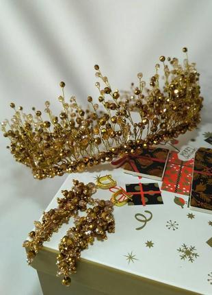 Набор украшений на выпускной золотая корона и сережки
