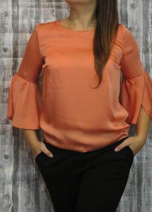 Нарядная блуза с длинным рукавом кораллового цвета 10 размер