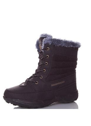 Зимние женские черные спортивные ботинки sayota на шнурках