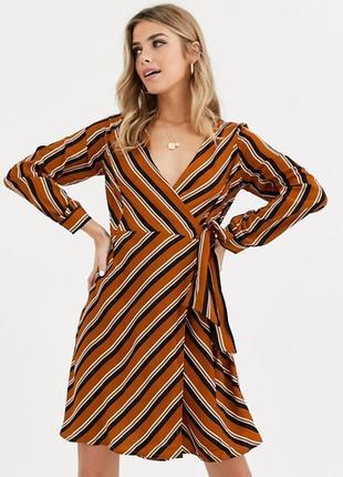 Платье миди на запах полосатое, запашное в полоску, рукава блуза