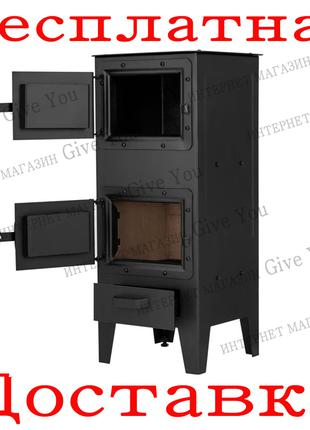 Печь на дровах прямоугольная с конфоркой 6 кВт Ackerman w4 PW4