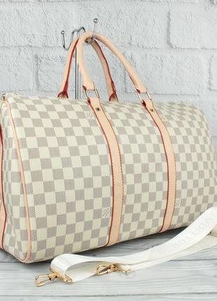 Дорожная сумка, саквояж 366 светлая, шахматный узор
