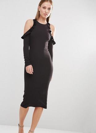 Платье миди по фигуре с открытыми плечиками и длинным рукавом ...
