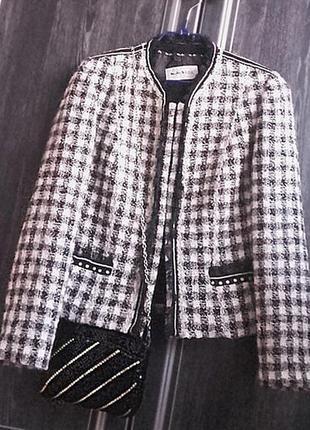 шерстяной жакет стиль chanel/люкс бренд Weill Paris/тренд клеткa