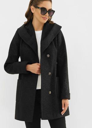 Пальто короткое черное с капюшоном - цвет- черный - иероглифы