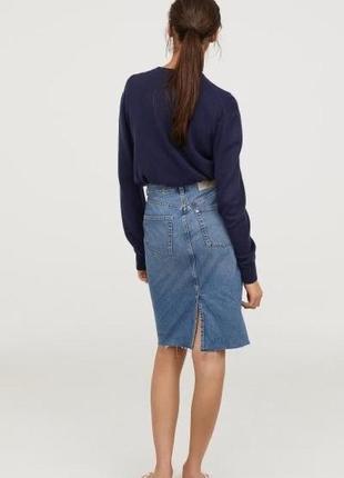 Крутая джинсовая юбка карандаш с разрезом по спинке next