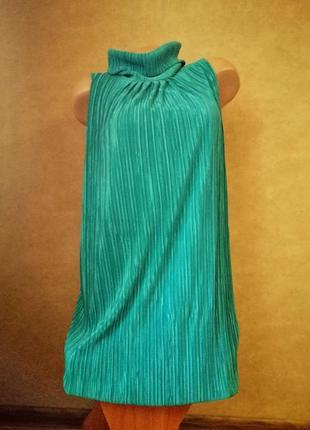Плиссированное миди-платье бирюзового цвета