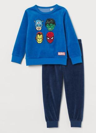"""H&m велюровая пижама """"мстители"""" на 2-4 года"""