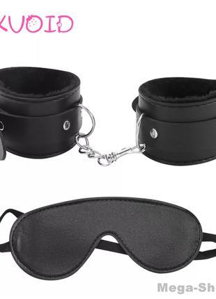 Набор наручники + маска кожаные для ролевых игр. Интимные това...